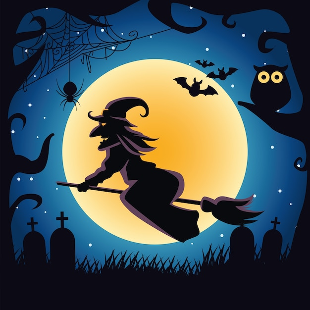 Bruxa voando em vassoura com cena noturna de coruja e morcegos