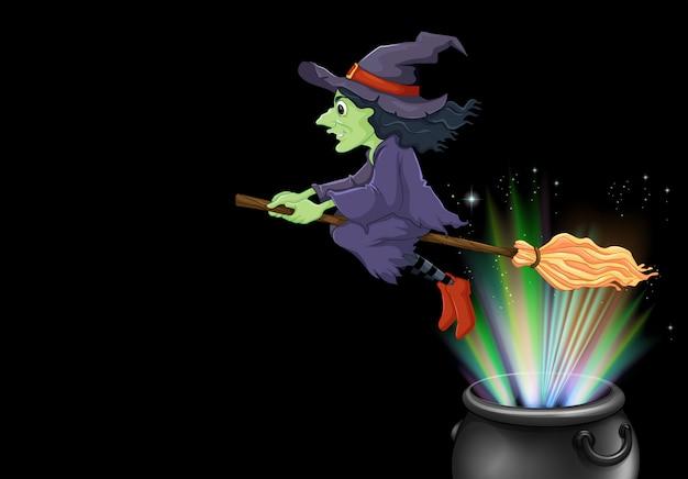 Bruxa voando na vassoura mágica