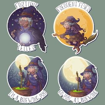 Bruxas de halloween realizando atividades mágicas comuns, como andar de vassoura, preparar uma poção e prever um futuro.