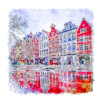 Bruxelles belgique belgium esboço em aquarela desenhado à mão Vetor Premium