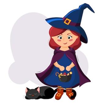 Bruxinha bonitinha em uma fantasia de halloween com um caldeirão com guloseimas nas mãos e um gato preto.