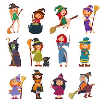 Bruxinha pequena bruxa harridan bruxa com vassoura mágica dos desenhos animados halloween garotas personagem traje chapéu ilustração.