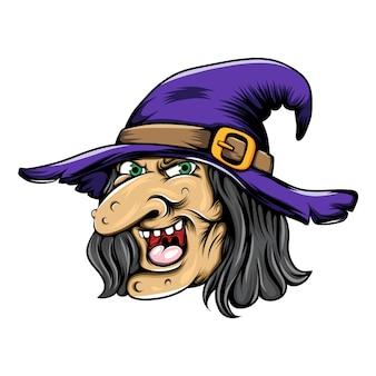 Bruxo com o nariz comprido e grande usando o chapéu de bruxo