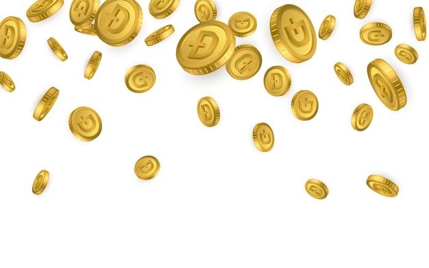 Btc. explosão de moedas de ouro bitcoin isolada no fundo branco. conceito de criptomoeda.