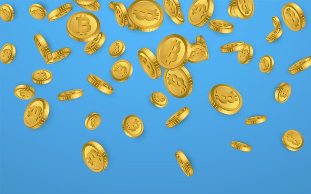 Btc. explosão de moedas de ouro bitcoin isolada sobre fundo azul. conceito de criptomoeda.