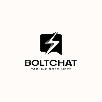 Bubble chat bolt lightning logo template logo logo isolated