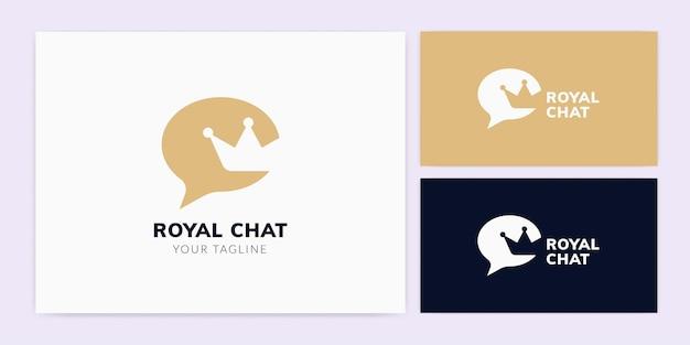 Bubble chat com modelo de logotipo crown
