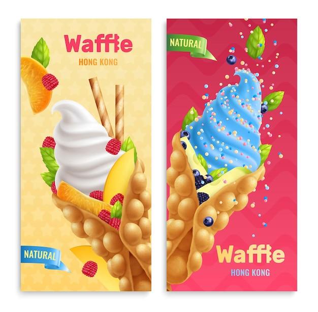 Bubble hong kong waffles ilustração realista com texto editável e imagens de produtos de confeitaria com frutas