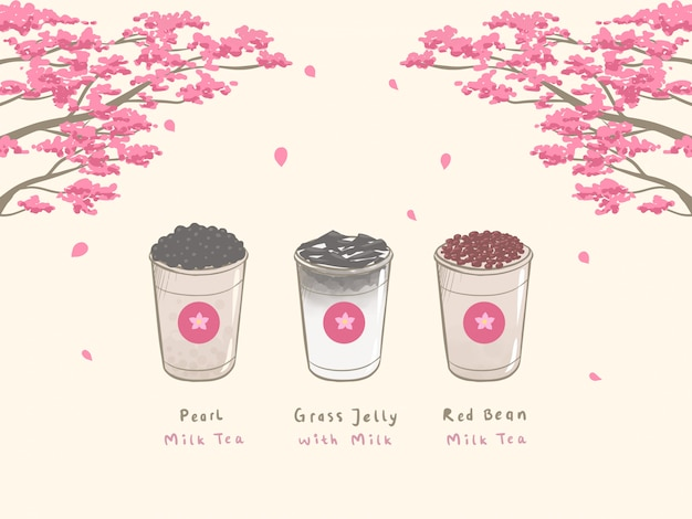 Bubble milk tea mão desenhada