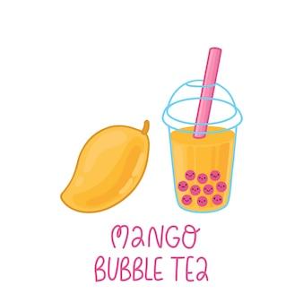 Bubble tea com pérolas de tapioca e manga