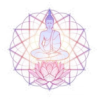 Buda meditando na posição de lótus única. hexagrama que representa o anahata chakra na ioga em um fundo.