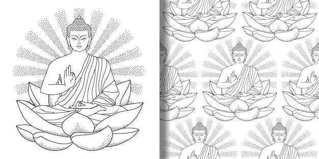 Buda sentado na estampa de lótus e padrão sem emenda