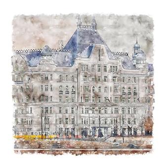 Budapeste hungria esboço em aquarela.
