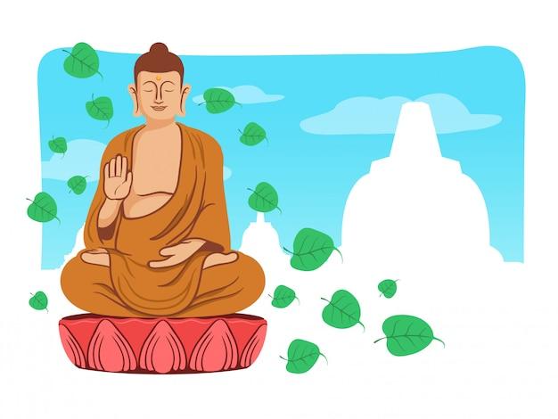 Buddha de sorriso para o cumprimento do dia de vesak