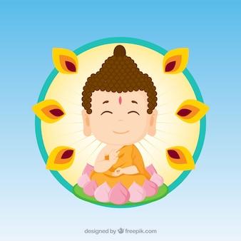 Budha colorido com design plano