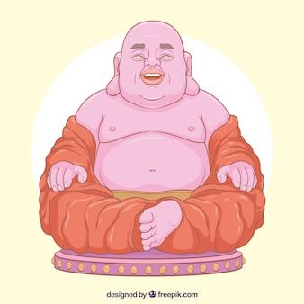 Budha feliz com estilo desenhado de mão