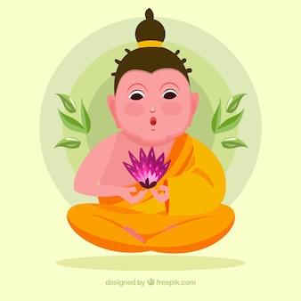 Budha smiley com design plano