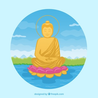 Budha tradicional com design plano