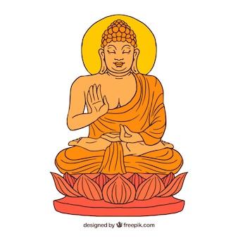 Budha tradicional com estilo desenhado de mão Vetor grátis