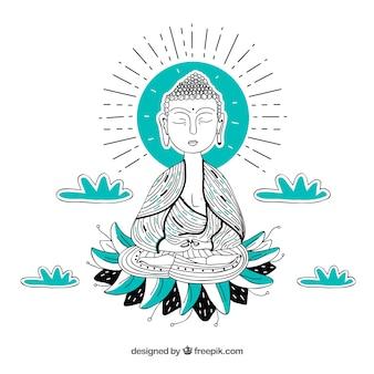 Budha tradicional de mão desenhada