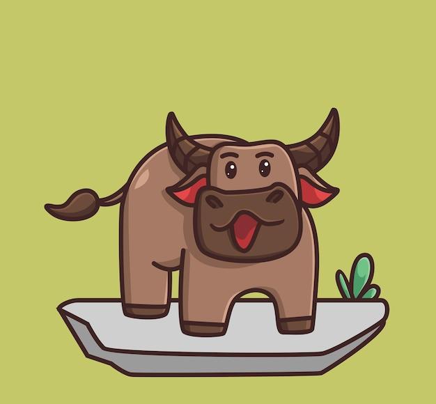 Búfalo bebê fofo andando de boca aberta desenho animado conceito de natureza animal ilustração isolada