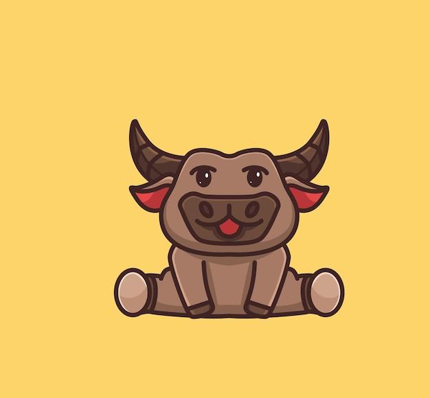 Búfalo bebê fofo sentado. conceito da natureza animal dos desenhos animados ilustração isolada. estilo simples adequado para vetor de logotipo premium de design de ícone de etiqueta. personagem mascote