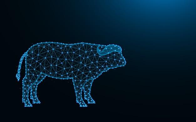Búfalo feito de pontos e linhas em fundo azul escuro, malha de arame de touro poligonal