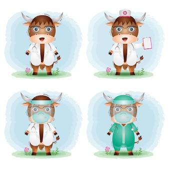 Búfalo fofo com equipe médica, médico e enfermeira, coleção de fantasias