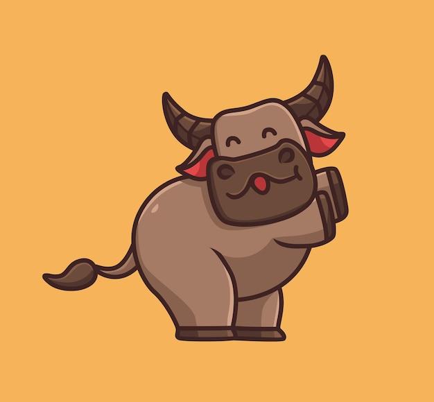 Búfalo fofo dança feliz desenho animado conceito de natureza animal ilustração isolada estilo simples