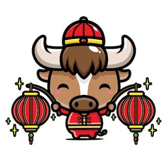 Búfalo fofo segurando lanternas de ano novo chinês
