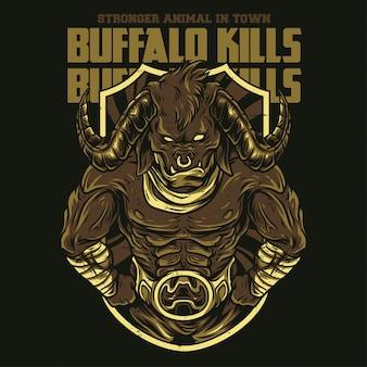Búfalo mata ilustração
