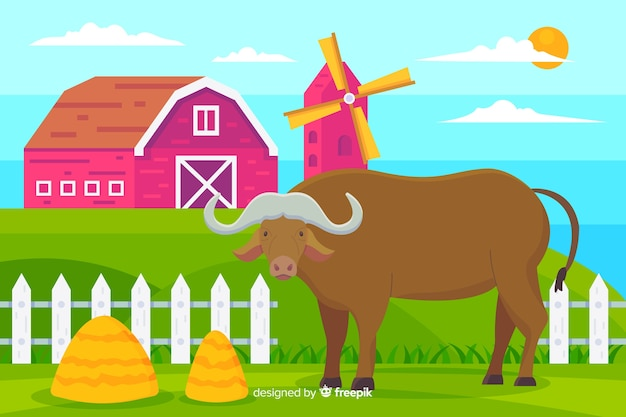 Búfalo na ilustração da fazenda