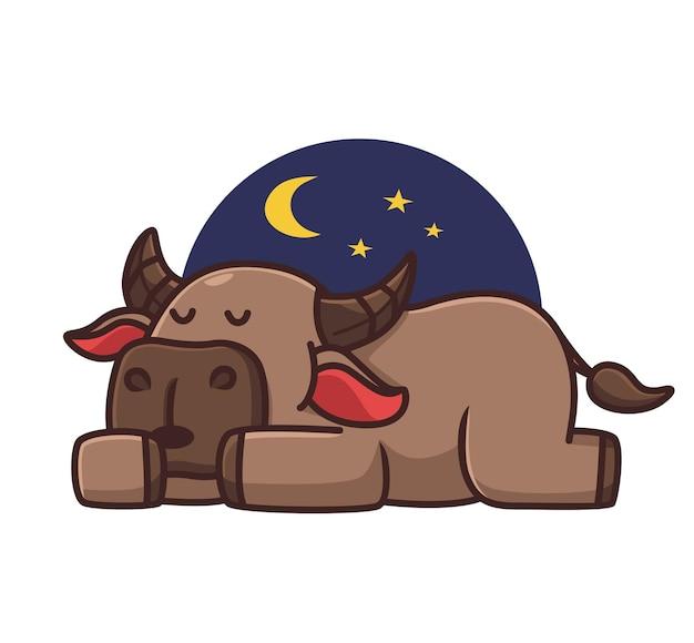 Búfalo preguiçoso adormecido bonito. conceito da natureza animal dos desenhos animados ilustração isolada. estilo simples adequado para vetor de logotipo premium de design de ícone de etiqueta. personagem mascote