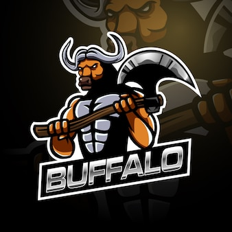 Búfalo segurando o modelo de logotipo grande machado