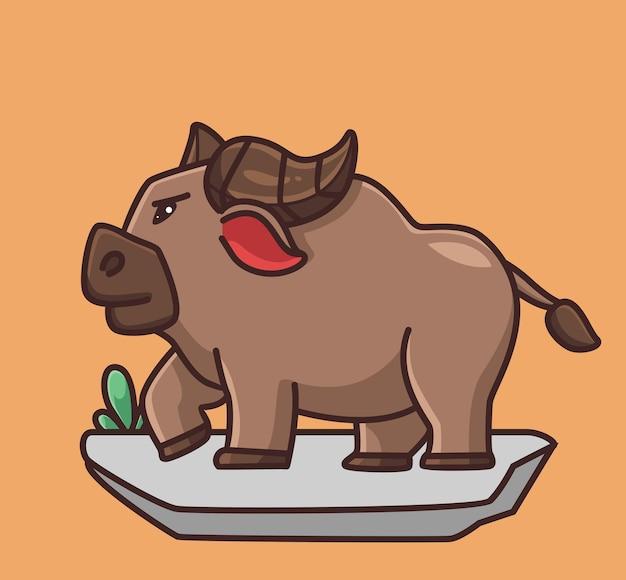 Búfalos fofos são fortes desenho animado conceito de natureza animal ilustração isolada estilo simples