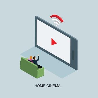 Buffer de vídeo no conceito isométrico de internet