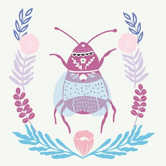 Bug de arte folclórica com elemento floral ornamento estilo escandinavo