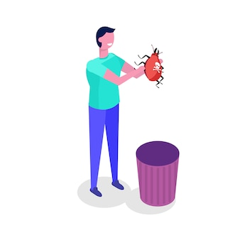 Bug de correção do desenvolvedor. ilustração isométrica do personagem.