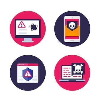 Bug no computador, email com vírus, spam móvel, malware e ícones de ataque cibernético