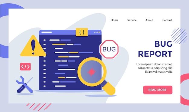 Bug report lupa bug na campanha de software de dados para página inicial da página inicial do website