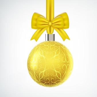 Bugiganga de natal amarela brilhante com laço de fita em branco