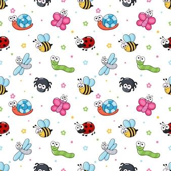 Bugs engraçados padrão sem emenda. insetos dos desenhos animados