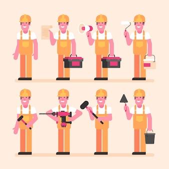 Builder está meio virado e contém vários itens. conjunto de caracteres. ilustração vetorial