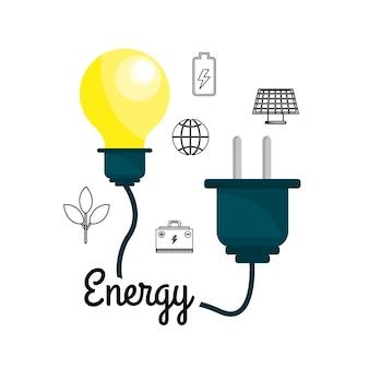 Bulbo com cabo de energia e ícones do ambiente