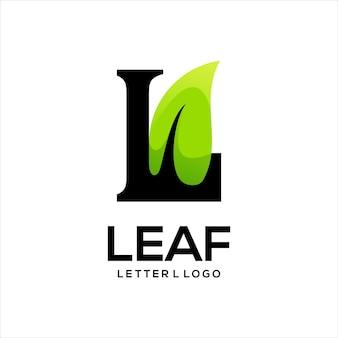 Bulbo com folha colorida logotipo gradiente abstrato
