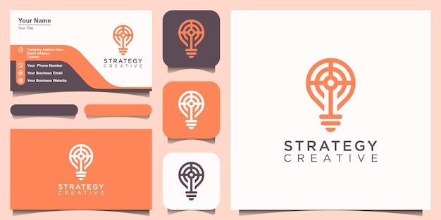 Bulbo criativo com conceito de estratégia, logotipo e design de cartão de visita.