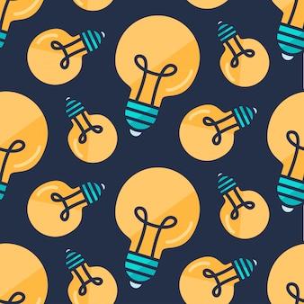 Bulbo de lâmpada sem costura padrão estilo cartoon
