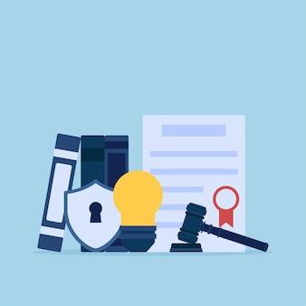 Bulbo e certificado de lei para ilustração conceitual plana de propriedade intelectual.