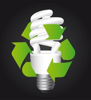 Bulbo elétrico com sinal de reciclar sobre vetor de fundo preto