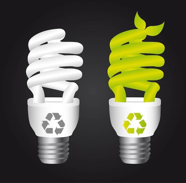 Bulbo elétrico com sinal de reciclar